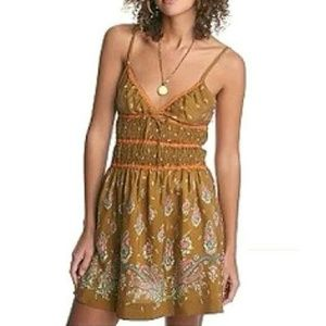 FREE PEOPLE smocked silk paisley floral boho dress